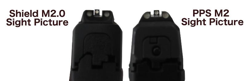 Walther PPS M2 vs S&W Shield M2.0 Sight Picture Comparison