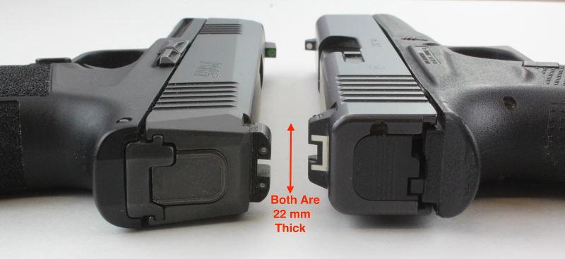 Glock 43 vs Sig P365 Slide Width Comparison