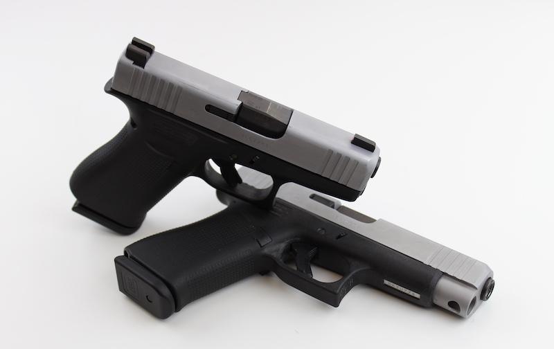 Glock 43X leaned on Glock 48