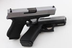 Glock 48 leaned on Glock 43X