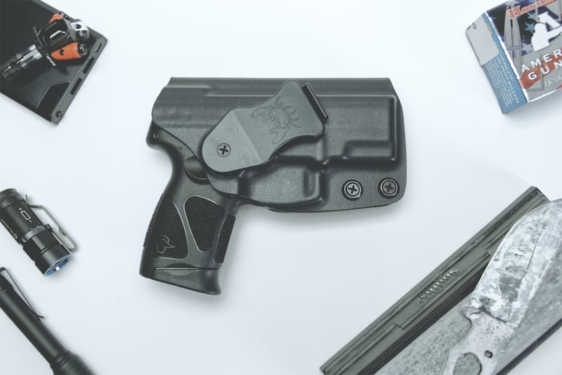 taurus g3c in holster overhead view
