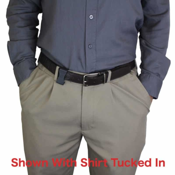 Glock 43X MOS holster with shirt tucked in