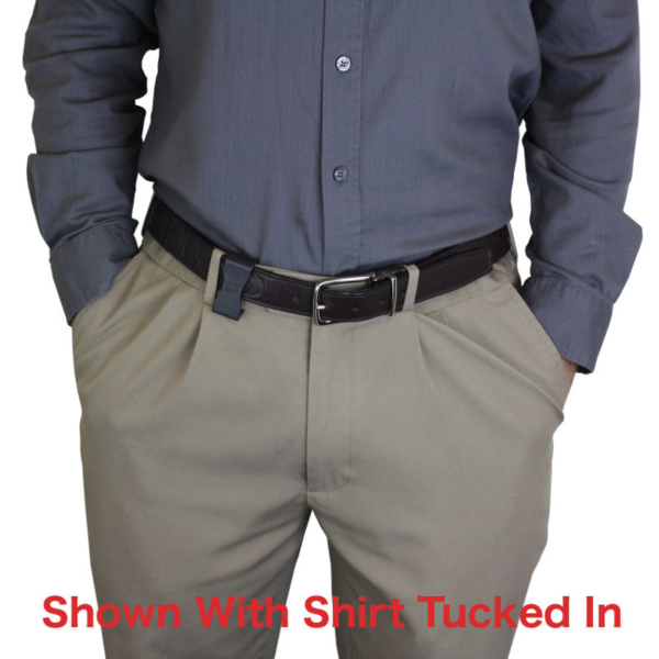 Ruger EC9S holster with shirt tucked in